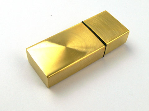 Metall USB Stick in Gold mit Logoprint als Give Away