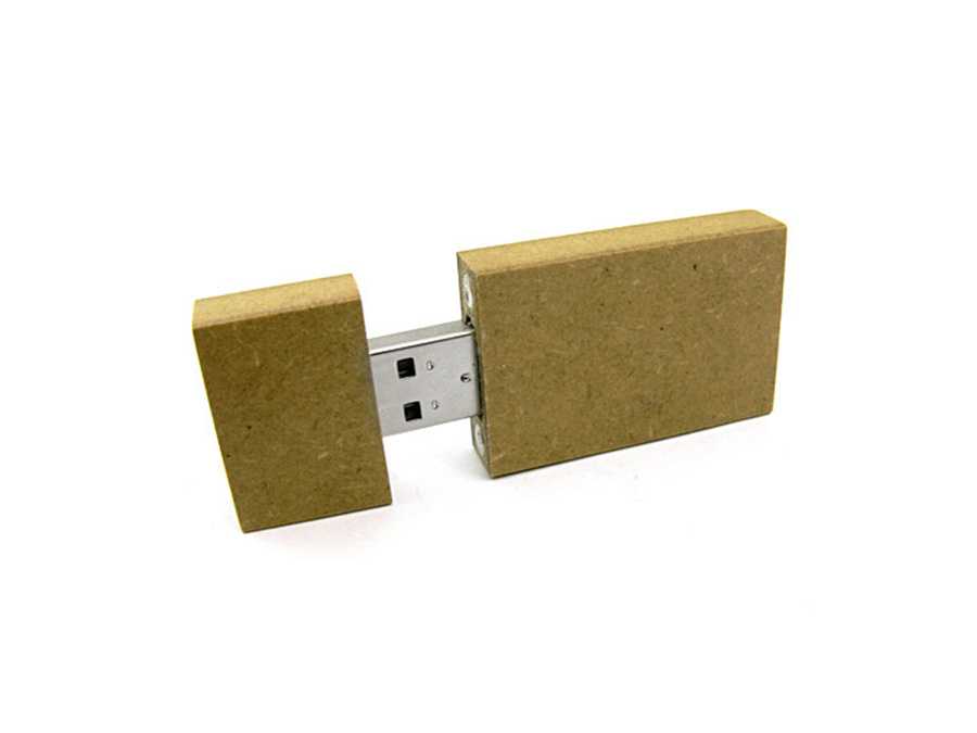 MDF Holz USB Stick Recycling Upcycling-Look mit Logogravur Give Away